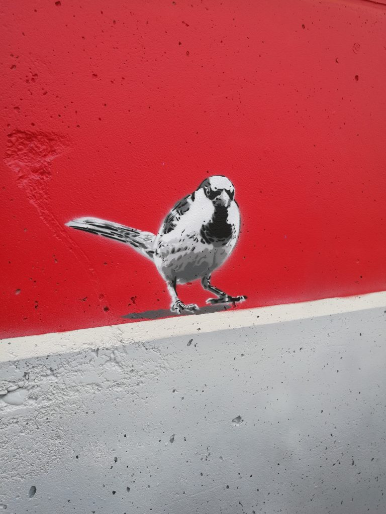 Das Bild zeigt einen meine gesprühten Spatzen, der bei dem Farbflut-Festival in Lemwerder bei Bremen das erstemal gesprüht wurde. Es ist ein kleines Stencil (Schablone, Sprühdose) auf einer Flutwand an der Weser.
